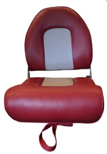 DELUXE FOLDING MARINE BOAT SEAT Grey/Red (75116GR) yacht fishing speed chair